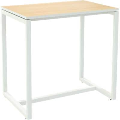 Paperflow Rectangular High Table with Beech Coloured Melamine Top and White Frame easyDesk 1140 x 750 x 1100mm