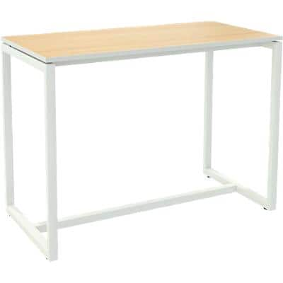 Paperflow Rectangular High Table with Beech Coloured Melamine Top and White Frame easyDesk 1500 x 750 x 1100mm