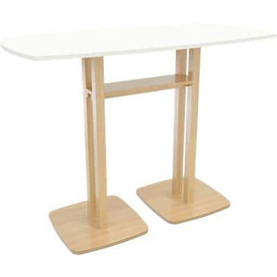 Paperflow Rectangular High Table with White MDF Veneer Top and Beech Coloured Frame Woody 1500 x 750 x 1100mm