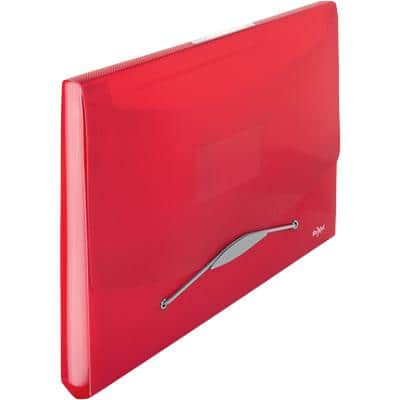Rexel Choices Expanding File A4 6 Compartments Translucent Polypropylene Red