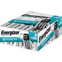 Energizer D Alkaline Batteries Max Plus LR20 1.5V Pack of 20