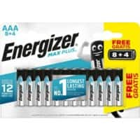 Energizer AAA Alkaline Batteries Max Plus LR03 1.5V 12 Pieces