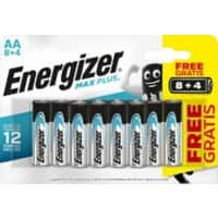 Energizer AA Alkaline Batteries Max Plus LR6 1.5V 12 Pieces