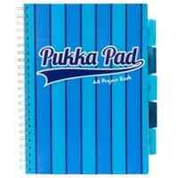 Pukka Pad Vogue A4 Wirebound Blue Poly Cover Project Book Ruled 200 Pages Pack of 3