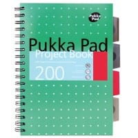 Pukka Pad Metallic B5 Wirebound Green Poly Cover Project Book Ruled 200 Pages Pack of 3