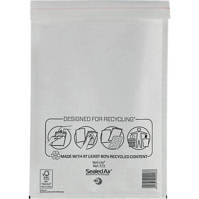 Mail Lite Padded Envelopes F/3 220 (W) x 330 (H) mm Peel and Seal White Pack of 50