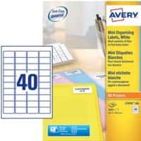 AVERY Zweckform L7654-100 Mini Multipurpose Labels A4 White 45.7 x 25.4 mm 100 Sheets of 40 Labels