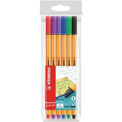 STABILO Point 88 Fineliner  Wallet of 6 Assorted Colours