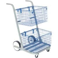 Val-U-Mail Mail Trolley with 2 Shelves Blue 59.7 x 73.7 x 90.8 cm