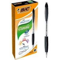 BIC Atlantis Classic Retractable Ballpoint Pen Grip Medium 0.4 mm Black Pack of 12