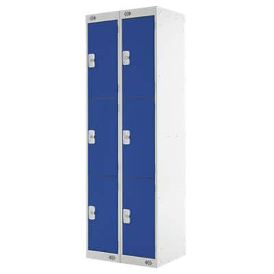 LINK51 Standard Mild Steel Locker with 3 Doors Standard Deadlock Nest 2 300 x 450 x 1800 mm Grey & Blue