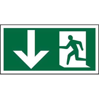 Fire Exit Sign Fire Exit Down Plastic Green 10 x 20 cm