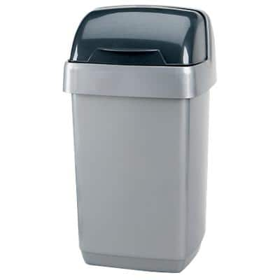 Addis Waste Bin Roll Top Metallic Silver 23 x 23 x 43 cm