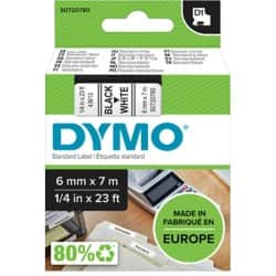 DYMO Labelling Tape 43613 6 mm x 7 m black / white