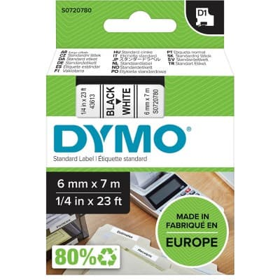 DYMO Labelling Tape 43613 6 mm x 7 m Black , White