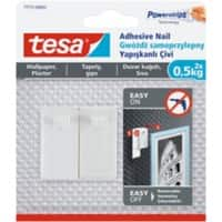 tesa Adhesive Nail Powerstrips White Pack of 2 holds up to 0.5 kg