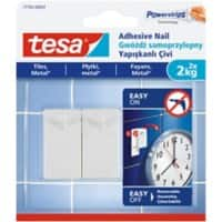 tesa Adhesive Nail Powerstrips White Pack of 2 holds up to 2 kg