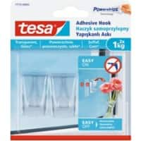 tesa Adhesive Hook Powerstrips Transparent Pack of 2