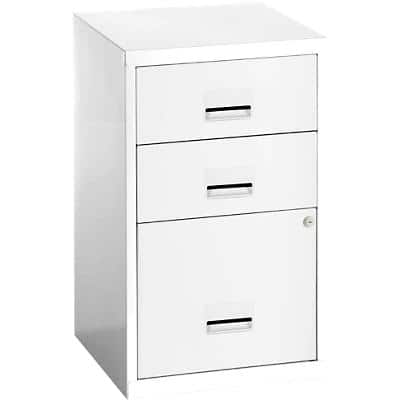 Pierre Henry Filing Cabinet with 3 Lockable Drawers Maxi 400 x 400 x 660mm White