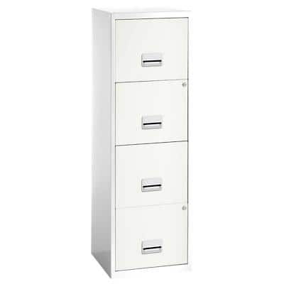 Pierre Henry Filing Cabinet with 4 Lockable Drawers Maxi 400 x 400 x 1250 mm White, Silver