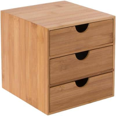 Osco Desktop Drawer Bamboo Brown 16 x 17 x 17 cm