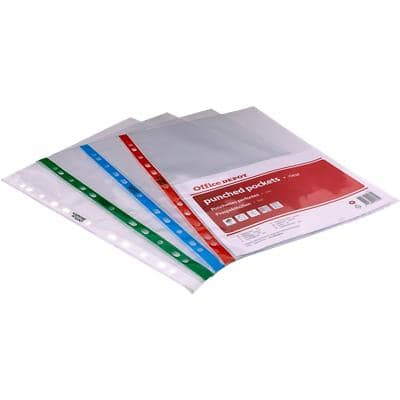 Office Depot Punched Pockets A4 Clear 80 Micron Assorted colours Pack of 25