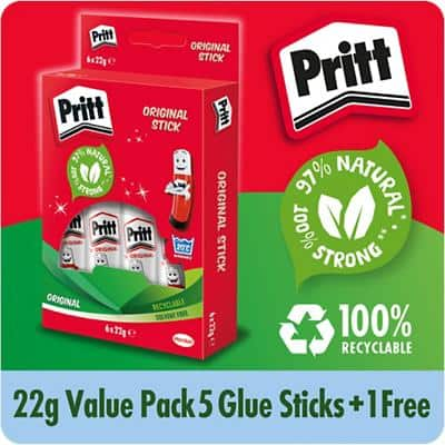 Pritt Glue Stick Transparent 22g Pack of 6