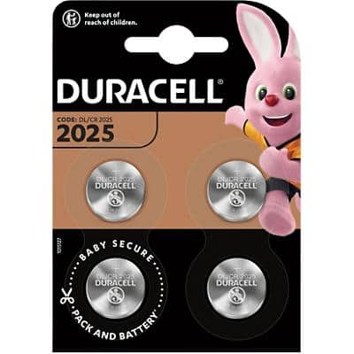 Duracell Button Cell Batteries CR2025 3V Lithium Pack of 4