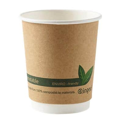 DISPO Cups Compostable Paper 227ml Brown 25 Pieces
