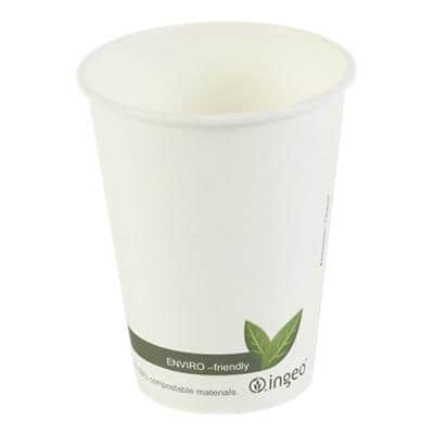 DISPO Compostable Paper Cup 340 ml White 50 Pieces