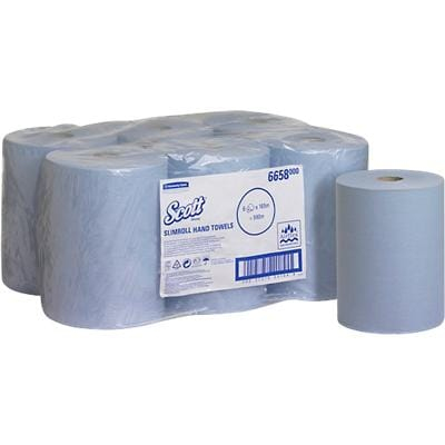 Scott Hand Towels 1 Ply Rolled Blue 6 Rolls of 600 Sheets