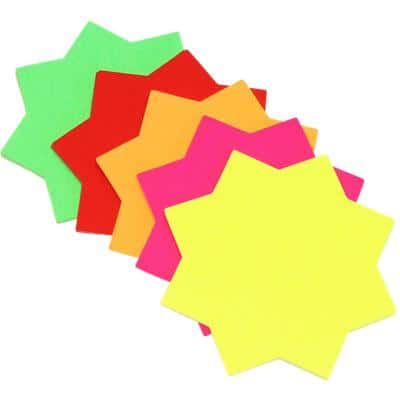 BI8001 Fluorescent Star Ticket Boards 102 x 102 mm Assorted 30 Pieces