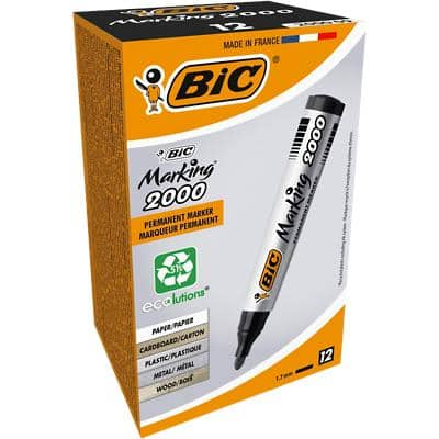 BIC Marking 2000 Permanent Marker Medium Bullet Black Pack of 12