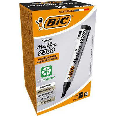 BIC Marking 2300 Permanent Marker Medium Chisel Black Pack of 12