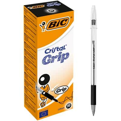 BIC Cristal Grip Ballpoint Pen Medium 0.4 mm Black Pack of 20