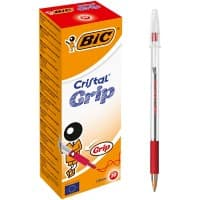 Bic Cristal Grip Ballpoint Pen-Red - Pack of 20