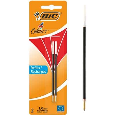 BIC Ballpoint Pen Refill 4 Colours 0.4 mm Red Pack of 2