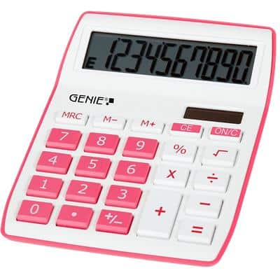 GENIE Desktop Calculator 840 P 10 Digit Display 30 x 106 mm Pink