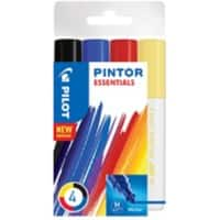 Pilot Pintor Paint Markers 1.4 mm Black, Blue, Red, Yellow 4 Pieces