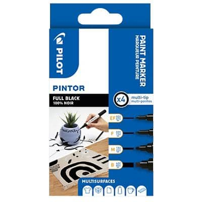 Pilot Pintor Paint Marker Broad Black Pack of 4
