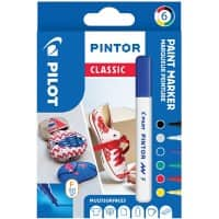 Pilot Pintor Classic Paint Markers 1 mm Assorted 6 Pieces
