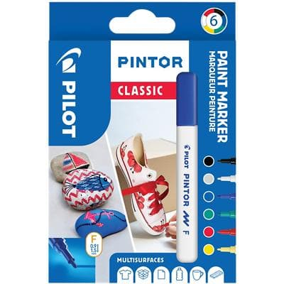 Pilot Pintor Classic Paint Marker Fine Bullet Assorted Pack of 6