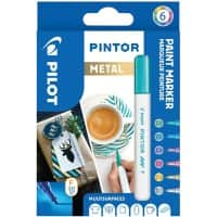 Pilot Pintor Metallic Paint Markers 1 mm Assorted 6 Pieces