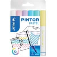 Pilot Pintor Pastel Paint Markers 1 mm Assorted 6 Pieces