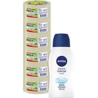 tesapack Transparent Eco and Strong Packaging Tape and Nivea Creme Bundle 50 mm x 66 m 6 Rolls