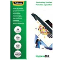 Fellowes Laminating Pouches Glossy 100 Micron A4 100 Pieces