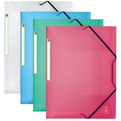 ELBA Elasticated Three Flap Folder 2nd Life A4 Assorted Polypropylene 4 Pieces