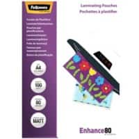 Fellowes Laminating Pouches Matt 80 Micron A4 100 Pieces