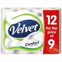 Velvet Toilet Rolls Comfort 2 Ply Pack of 12