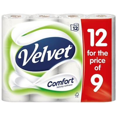 Velvet Toilet Rolls Comfort 2 Ply 12 Pieces